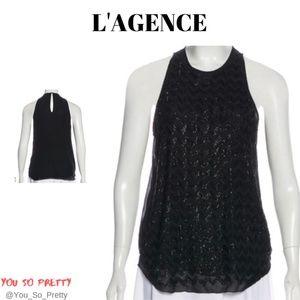 L'AGENCE Sleeveless Embellished Silk Top